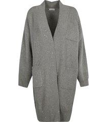brunello cucinelli knitted multi-pocket long cardigan