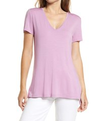 halogen(r) v-neck tunic t-shirt, size xx-small in pink gale at nordstrom