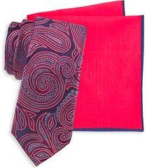2-piece silk paisley tie & cotton-blend tie pocket square set