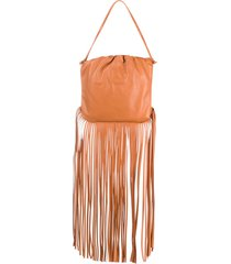 bottega veneta the fringe pouch shoulder bag - brown