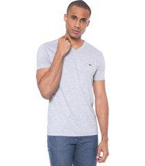 camiseta lacoste regular fit gola v cinza