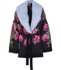 blumarine black wool cardigan with eco-fur and floral print