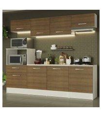 cozinha completa madesa onix 240001 com armário e balcão branco/rustic branco/rustic