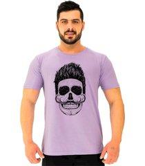 camiseta tradicional gola redonda alto conceito caveira bigode francãªs arrepiado roxo beb㪠- roxo - masculino - algodã£o - dafiti