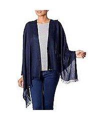 wool shawl, 'midnight blue paisley' (india)