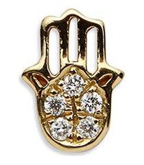 18k yellow gold diamond hand of fatima charm - have faith