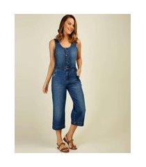 macacão feminino jeans botões sem manga marisa