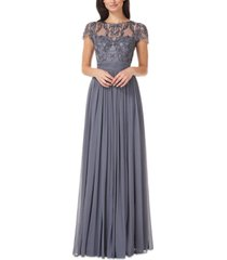 js collections beaded lace-top chiffon gown