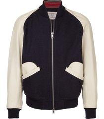 kent & curwen contrast baseball jacket - black