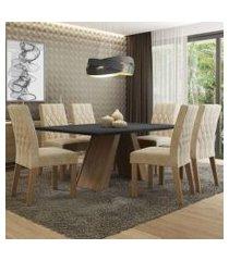 conjunto sala de jantar madesa giovana mesa tampo de madeira com 6 cadeiras rustic/preto/imperial