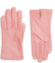 nordstrom lambskin leather gloves, size small in pink at nordstrom
