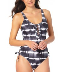 california waves juniors' tie-dyed one-piece swimsuit, created for macy's women's swimsuit