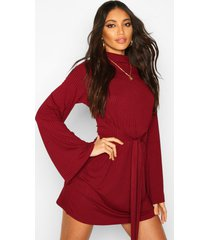 jumbo rib flare sleeve tie waist skater dress, wine