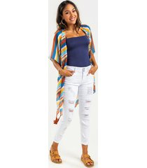 tricia distressed rolled cuff skinny jeans - white