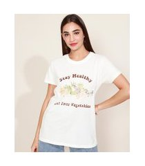 "t-shirt feminina mindset stay healthy"" manga curta decote redondo off white"""