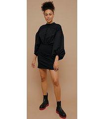 black poplin mix drama sleeve dress - black