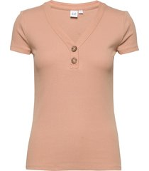 ribbed henley v-neck t-shirt t-shirts & tops short-sleeved gap