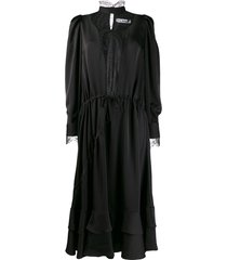 almaz satin panelled chemise dress - black