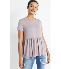 maurices womens 24/7 solid babydoll tee purple