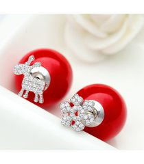 elegante snowflake elk ear stud red ball donna orecchini sliver lega orecchini stub
