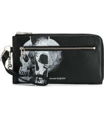 alexander mcqueen torn skull print zip-around wallet - black
