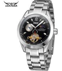 reloj /acero inoxidable/jaragar relojes mecánico-negro