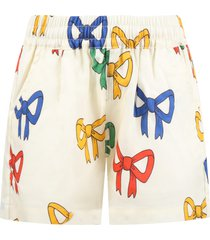 mini rodini ivory shorts for girl with bows