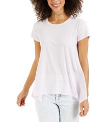style & co burnout handkerchief-hem t-shirt, created for macy's