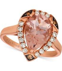 le vian morganite (2-1/3 ct. t.w.) & diamond (1/3 ct. t.w.) ring in 14k rose gold