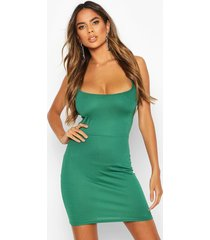 cross strappy back bodycon dress, bottle green