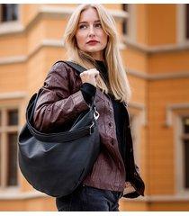 czarna torebka worek ze skóry ekologicznej
