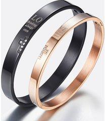 trendy braccialetto per coppia in titanio con strass per lui e lei