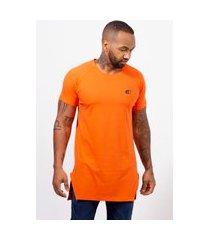 camiseta masculina camisa longline edius basica lisa laranja