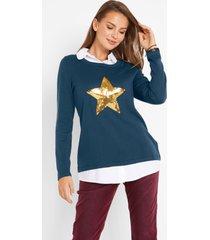 2-in-1 trui met blouse-inzet, lange mouw