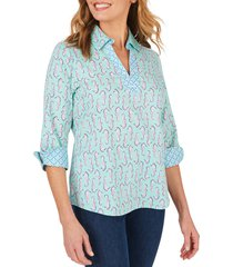 women's foxcroft cora seahorses wrinkle free shirt, size 18 - green
