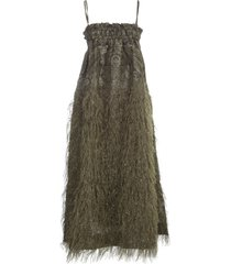 ganni feathery cotton dress thin strap