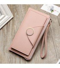 pochette lunga borsa per portafoglio lungo multiscivolo in pelle pu