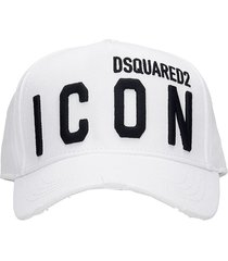 dsquared2 icon hats in white cotton