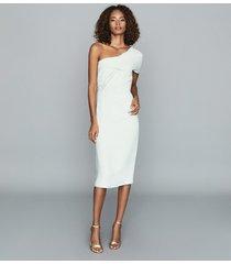 reiss riana - one shoulder bodycon dress in aqua, womens, size 14