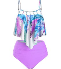 feather print flounce beading embellished tankini swimsuit