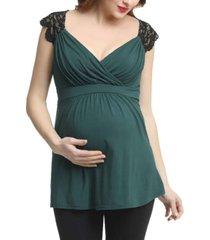 kimi + kai jeanette maternity nursing lace accent top