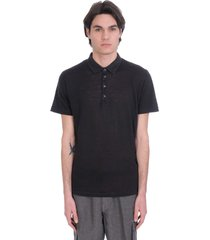 120% lino polo in black linen
