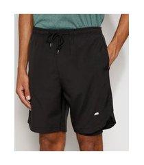 bermuda masculina esportiva ace com short compressor e bolsos preta