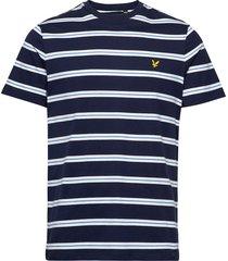 wide double stripe t-shirt t-shirts short-sleeved blå lyle & scott