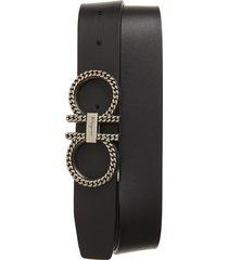 men's salvatore ferragamo double gancio reversible leather belt, size 36 - nero