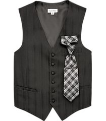 calvin klein black modern fit formal vest & tie set