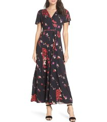 women's french connection floral v-neck maxi dress, size 8 - black