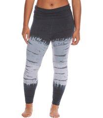hard tail women's plus size rolldown layering cotton yoga leggings - black/grey tie dye 3x
