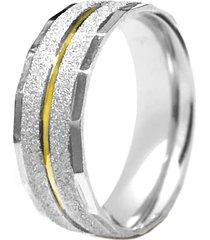 aliança prata mil abaulada fresa de prata c/ filete de ouro prata