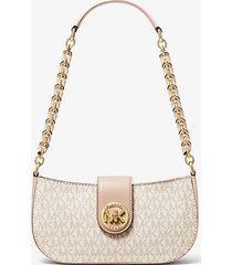 mk borsa a spalla carmen extra-small con logo - vanilla/soft pink - michael kors